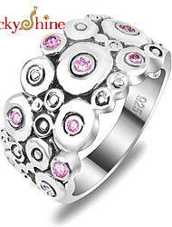 Luckyshine Amazing 925 Silver Classic Vintage Round Pink Topaz Crystal Gemstone Rings For Christmas HOliday Gift