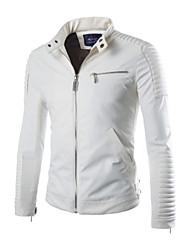 Men's Fashion Casual/Classic Pockets Spliced Fake/PU Leather Jacket