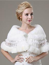 Wedding  Wraps / Fur Wraps Shawls Sleeveless Faux Fur Ivory Wedding / Party/Evening / Casual Lace / Rhinestone Clasp