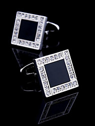 Fashion Copper Men Jewelry Silver Square Black Enamel Crystal CZ Delicate Button Cufflinks(1Pair)