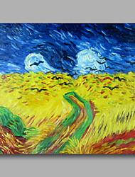 Ready to hang Stretched Hand-Painted Oil Painting Canvas Abstract Van Gogh repro Wheatfield with Crows One Panel