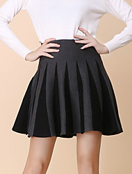 Women's Solid Red / Gray Skirts , Vintage / Sexy Mini