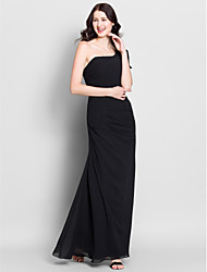 Lanting Bride Ankle-length Chiffon Bridesmaid Dress Trumpet / Mermaid One Shoulder with Side Draping