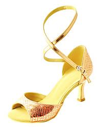 Customizable Women's Dance Shoes Leatherette Leatherette Latin / Salsa Sandals Customized Heel Indoor / Practice / Beginner / Professional
