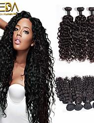 3pcs / lot cru onda preto indiano onda cabelo virgem extensões de cabelo humano cabelo natural 8 '' - 30 '' cabelo tecem