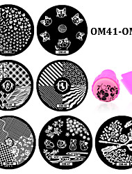 10pcs Round Nail Art Stencils Stamping Template and Stamper Set Polish Print Nail Image Plates Tools (OM41-OM50)