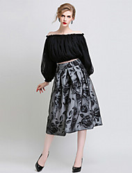 Women's Print Black Skirts , Casual Knee-length