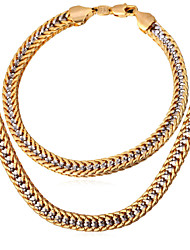 U7 New 2 Tone Necklace Bracelet Set Link  Chain Fashion Italy Jewelry 18K Gold Platinum Plated for Men High Quality