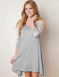 Women's Lace Splicing Round Loose Solid Dress
