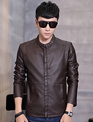 Autumn and winter in Haining men's leather jacket coat collar Korean slim young and thin cashmere tide locomotive