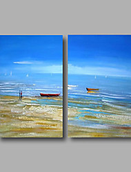 Ready to Hang Stretched Oil Painting Hand-Painted Canvas Wall Art Modern Blue Sky Beach Abstract Two Panels