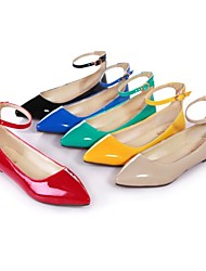Women's Shoes Patent Leather Flat Heel Mary  / Pointed Toe Flats Office & Career / Dress / Casual Black / Blue /