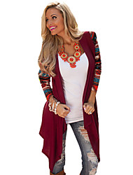 Women's Casual/Daily Simple Fall Shirt,Patchwork Round Neck ¾ Sleeve Red Opaque
