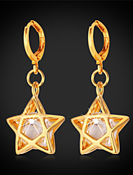 Goldmax Cute Stars Drop Earrings Luxury Cubic zirconia 18K Gold Plated Earrings for Girl Women High Quality