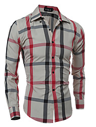 Men's Fashion British Style Plaid Slim Fit Long-Sleeve Shirt