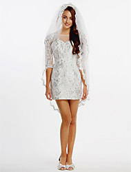 Sheath / Column Wedding Dress Short / Mini Bateau Lace / Tulle with Lace