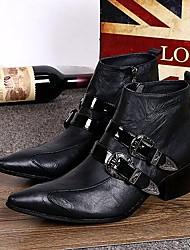 Для мужчин Ботинки Удобная обувь Весна Осень Зима Кожа Повседневные Для вечеринки / ужина Пряжки На низком каблуке Черный