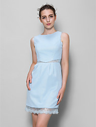 Knee-length Chiffon / Lace Bridesmaid Dress Sheath / Column Scoop with Lace