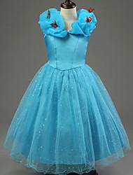 Vestido Chica deUn Color-Algodón / Poliéster-Todas las Temporadas-Azul