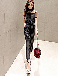 Women's Striped / Lace Black Jumpsuits , Sexy / Work Shirt Collar Short Sleeve
