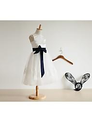 Trapèze Mi-long Robe de Demoiselle d'Honneur Fille - Satin / Tulle Sans Manches Bijoux avec