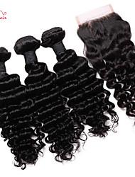 brésilienne vierge de cheveux profonde vague de smilco avec fermeture 3 faisceaux avec partie libre de fermeture 4 * 4 de dentelle