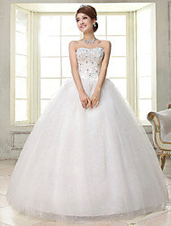 Ball Gown Wedding Dress - White Floor-length Sweetheart Lace / Satin