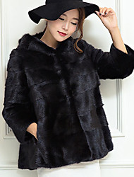 Women Fox Fur / Faux Fur Shawl & Wrap / Top , Hoodie / Lined