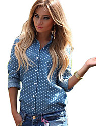 Women's Popular Heart Print Shirt Collar Back Split Casaul Shirt