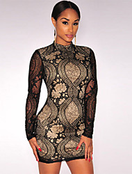 Women's Mock Neck Lace Mini Dress