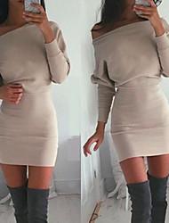 Vestidos ( Algodón )- Casual Hombros holgados Manga Larga para Mujer