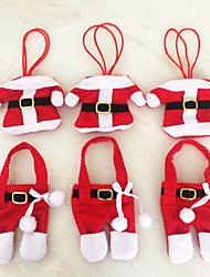 6 Pcs  Christmas Decorations Happy Santa Silverware Holders Pockets Dinner Decor festas