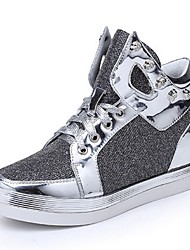 Women's Shoes Glitter Wedge Heel Comfort / Round Toe Fashion Sneakers Outdoor / Casual Black / Silver / Gold
