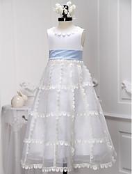A-line Tea-length Flower Girl Dress - Organza / Satin Sleeveless