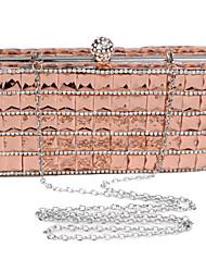Women Polyester / Metal Minaudiere Clutch / Evening Bag - Pink / Silver / Black