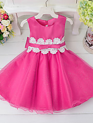 Girl's Blue / Green / Pink / Red / White Dress , Lace / Bow / Dresswear Polyester Summer