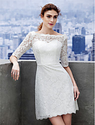 LAN TING BRIDE Sheath / Column Wedding Dress Little White Dress Short / Mini Bateau Lace with Lace