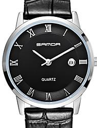 SANDA 3 d Ultra-thin Dial, Seiko Quartz Movement, High Hardness, Mirror, Genuine Leather Strap Watch Business Wrist Watch Cool Watch Unique Watch