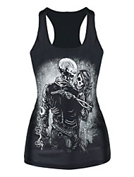 Women's Black Skull Man and Lady Printed Tank Top