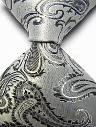 Men Wedding Cocktail Necktie At Work White Gray Flower Tie