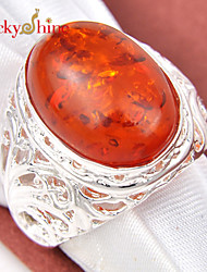 Lucky Shine Amazing 925 Silver Fire Shiny Oval Amber Crystal Gemstone Rings For Friend Family Gift