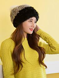 Women Cute Rabbit Fur  Hats with Fox Pompon LD00080