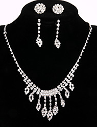 2 Pairs of Rhinestone Earrings with Wedding/Party Jewelry Sets Crystal Chain Necklace Ring Bracelet Drop Earrings Sets