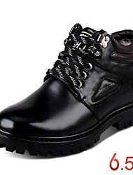 Men's Height Increasing Boots Keep Warm Winter Snow Leather Boots Black