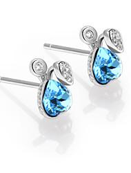 925 Sterling Silver CZ Stone Fashion Crystal Stud Earring