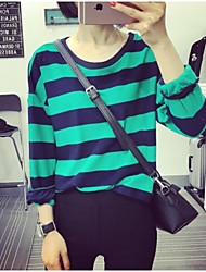 Women's Striped Black / Green T-shirt , Round Neck Long Sleeve