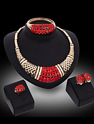 MISS U Women's Luxury Gem 18K Gold Plated Necklace & Earrings & Bracelet & Ring Jewelry Sets