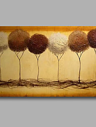 Ready to Hang Stretched Hand-Painted Oil Painting Canvas Wall Art Trees Beige Abstract Modern One Panel