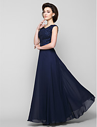 Lanting A-line Mother of the Bride Dress - Dark Navy Ankle-length Sleeveless Chiffon