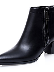 Women's Shoes Leatherette Spring / Fall / Winter Fashion Boots Outdoor / Casual Chunky Heel Zipper Black